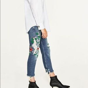 Zara Distressed Denim With Embroidered Crane 2